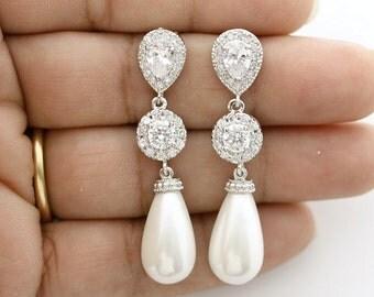 Pearl Earrings Bridal Jewelry Pearl Wedding Jewelry Cubic Zirconia Posts Pearl Large Teardrops Crystal Wedding Earrings, Mila Earrings