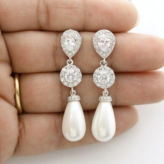 Brautschmuck ohrringe perlen  Braut Ohrringe Kristall Hochzeitsohrringe lange Zirkonia