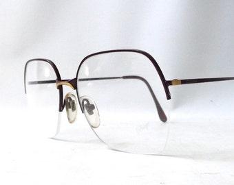 vintage 1980's NOS d'arrigo eyeglasses oversized round gold burgundy metal frames prescription women eye glasses eyewear italy half rimless