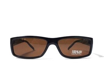 vintage 1990's NOS square black plastic sunglasses dark brown lenses mens womens fashion accessories accessory sun glasses retro modern new