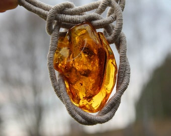Huge Raw Stone Pendant Linen Baltic Amber Necklace Nautical Sailor Knot Yellow OOAK Honey Sunny Large Stone Age Dinosaur Fly Fossil Insect