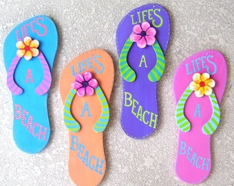 Large Flip Flop Plaque Life's a Beach Hand Painted on Reclaimed Wood Beach Pool Decor Hot Pink