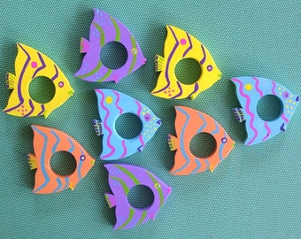 Tropical Fish Napkin Rings  (Set of Four) Handmade and Painted from Reclaimed Wood