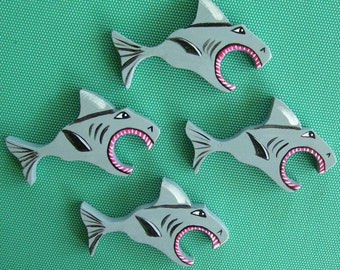 Shark Fish Napkin Rings  (Set of Four) Handmade and Painted from Reclaimed Wood