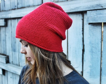RED Beanie- handmade by Haley Lu