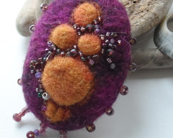 Mother Goddess Brooch - Earth Mother Talisman - Hand made wool felt with glass beads