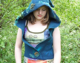 Felted Wool Vest with Pixie Hood and Curly Locks - Blue and Green Wool and Silk