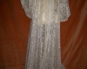 Vintage 50s Victorian Style Long Nylon Lace Robe Wedding By Tosla Lingerie