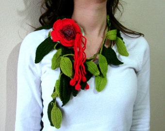 Crochet leaves scarf  with red flower brooch, skiny scarf necklace