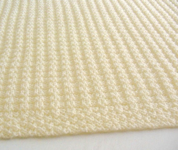 Cream Baby Blanket Knitted Baby Blanket Hand Knit Baby
