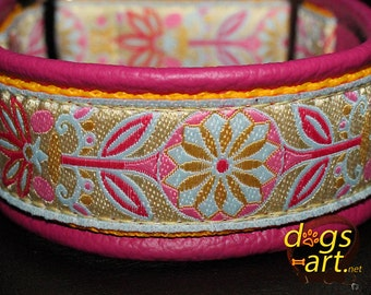 "Dog Collar ""Pinwheel Zinnia"" by dogs-art, dogs-art collar, floral dog collar, martingale collar, martingale leather, dog collar leather, dog"