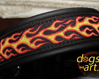 Handmade Martingale Chain Leather Dog Collar FLAMES by dogs-art in black/black/flames