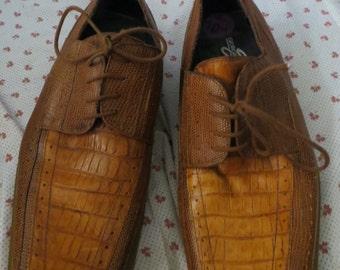 vintage Men's Gatsby Style  2 tone brown faux ALLIGATOR mans shoe Giorgio  Brutini Vero Cuoio Italiano      10 1/2 M