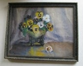 1910 Watercolor Still Life Painting Pansies signed I. Johnson