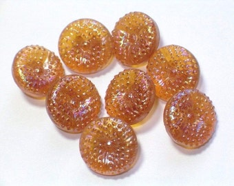 8 Clear Amber Glass AB Lustre Small Vintage Glass Buttons 11mm Set Sewing Buttons