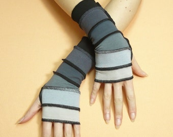 Short Fingerless Gloves in Black and Grey Shades Segmented Traveler Armwarmers with Thumb Holes, Comfortable Jersey Sleeves, Pale, Dark Grey