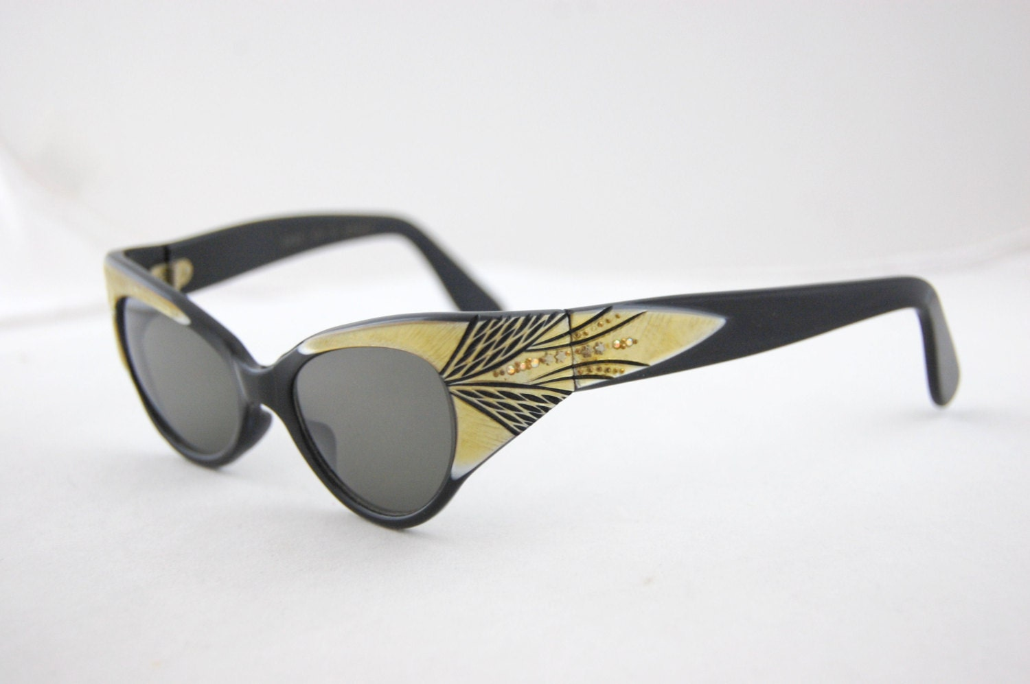 50s black and gold cateye eyeglasses by frocksnfrillsvintage