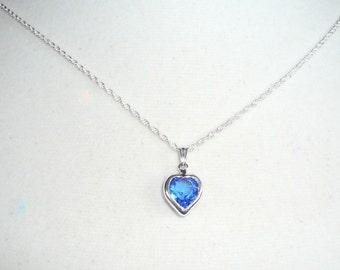 FLOWERGIRL JEWELRY, Tiny Heart Birthstone Necklace, September birthstone, sapphire Swarovski crystal