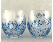 Hand Painted Stemless Wine Glasses, CRYSTAL - Royal Blue and Silver Roses, Set of 4 - HandPainted 25th Anniversary Gift Idea Cocktail Glass