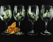 Hand-Painted Wine Glasses - Mint Green and Gold Roses Set of 4 - Ready to Ship Can Be Personalized for 50th Wedding Anniversary Wine Glasses