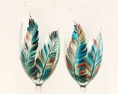 Hand-Painted Champagne Flutes - Teal Blue and Copper Feathers Set of 4 - Custom Wedding Glasses Hand Painted Flutes de Champagne au Mariage