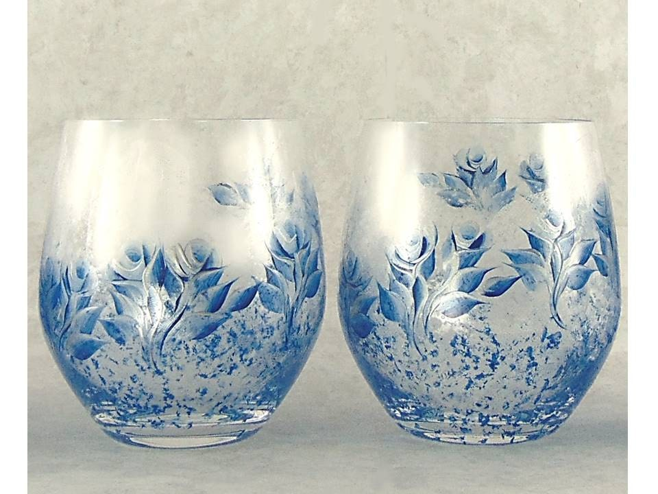 hand painted stemless wine glasses crystal set of 4 royal