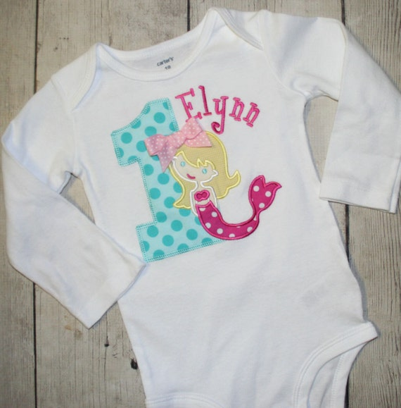 Items Similar To Girly Girls Little Mermaid Applique Birthday Shirt Custom Personalized On Etsy