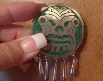 Silver Aztec Brooch, 925 Stamped, Mexican Taxco, Mayan,  Vintage 1970's 1980's