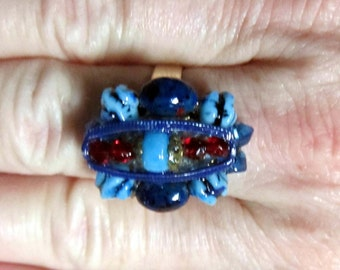 BLUE STONE RING, Upcycled Jewelry, Made From Vintage Earring, Repurposed, Adustable Band, ooak, Under 10 Dollars