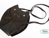 SALE multicolored glitter vegan leather bat bag