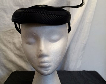 Vintage 1950's Black Velvet and Satin Pillbox Hat