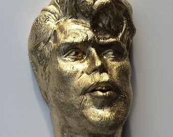 Wall hanging sculpture, ceramic art portrait face of a man, crackle texture, bust, gold painting
