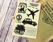 Cut & Paste Vintage style PU Leather sticker - Airplane Cream