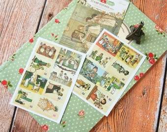 vintage style LITTLE GIRL cartoon Ver 2 Ancien Stamp stickers