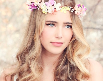 Bridal flower crown, Purple flower, pink flower, woodland wedding, wedding hair accessory, multi color flower crown