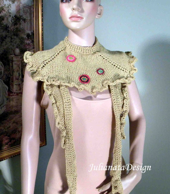 BOHO-CHIC SHAWLETTE - Wearable Fiber Art; Elegant And Trendy, Triangular & Versatile, Freeform Embellishments