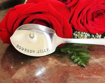 Bourbon Jelly Spoon, Hand Stamped Jelly Knife Derby Day, Horse Racing Tailgating Party Equestrian- Acadia