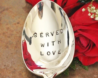 Served with Love Hand Stamped Serving Spoon  - Graceful Fleur Di Lis, Foodie Gift Idea, #StampedSpoon, #Cooking