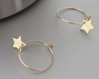 Gold Star Earrings - Simple Earrings - Star Earrings - Everyday Earrings - Hoop Earrings