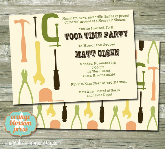 Groom S Tool Shower Invitation Honey Do Shower Tool Time