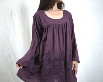 Blossom - Plus Size Bohemian Long Sleeve Azo Free Color Dusty Plum Light Cotton Blouse With Hand-Embroidered Detail