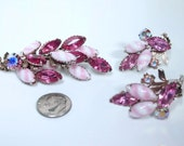Pink Striped Molded Glass Rhinestone brooch pin earring set CIRCA 1950