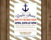 Customized Couples Shower Invitation Wedding Shower Invite Card Engagement Party Anchor Burlap Beach Sand Stripe 5x7 Digital JPEG PDF DIY