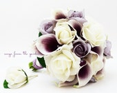 Lavender White Roses Picasso Calla Lilies Bridal Bouquet Grooms Boutonniere - Silk Flower Bridal Bouquet - Customize for your Colors