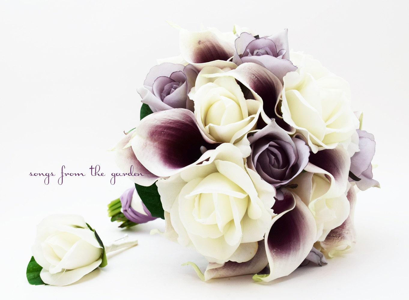 Bridal bouquets calla lilies roses wedding flowers laura s bridal bouquets calla lilies roses lavender white roses picasso calla lilies bridal bouquet izmirmasajfo Choice Image