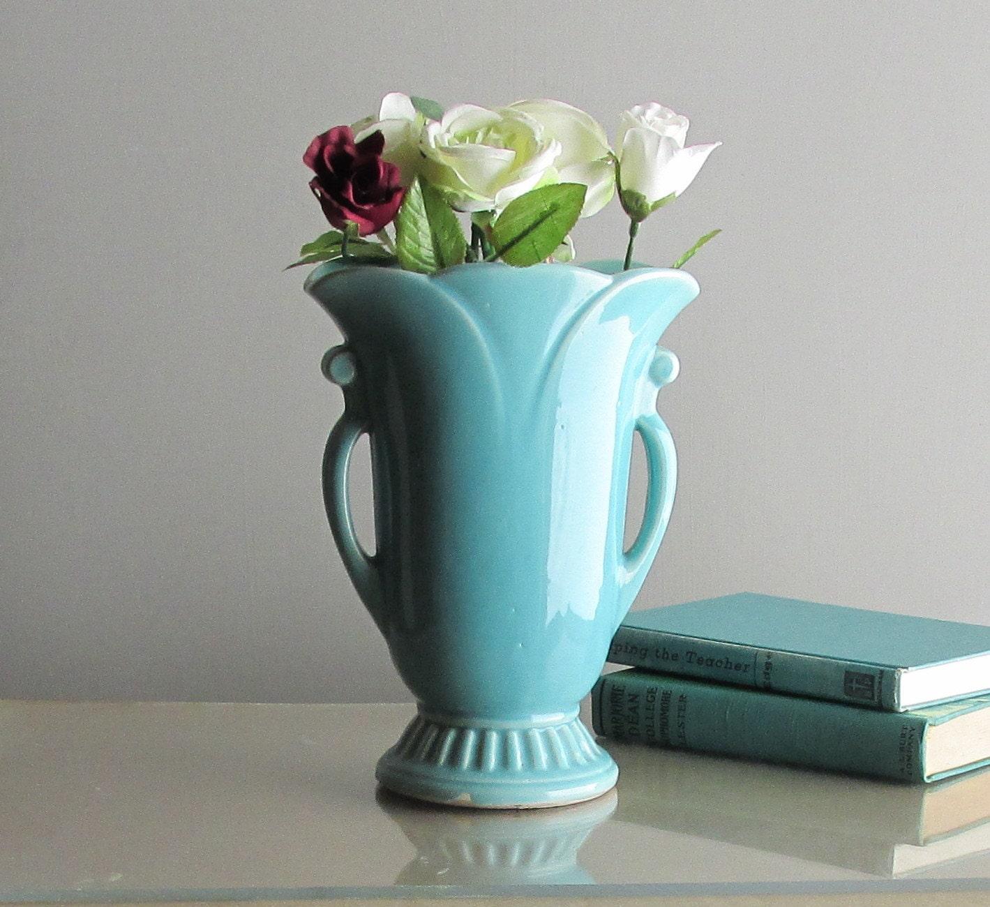 Home Decor Vintage Usa Vase Turquoise Blue Art Pottery