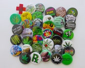 "24 Assorted Pot Pins - Pack of (24) 1.25"" MARIJUANA themed Pin-Back Weed Lover's Buttons or Badges"