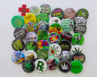 """24 Assorted Pot Pins - Pack of (24) 1.25"""" MARIJUANA themed Pin-Back Weed Lover's Buttons or Badges"""