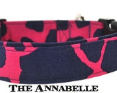 Pink and Navy Dog Collar - The Annabelle