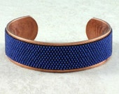 Navy Blue Cuff Bracelet, Copper Cuff Bracelet